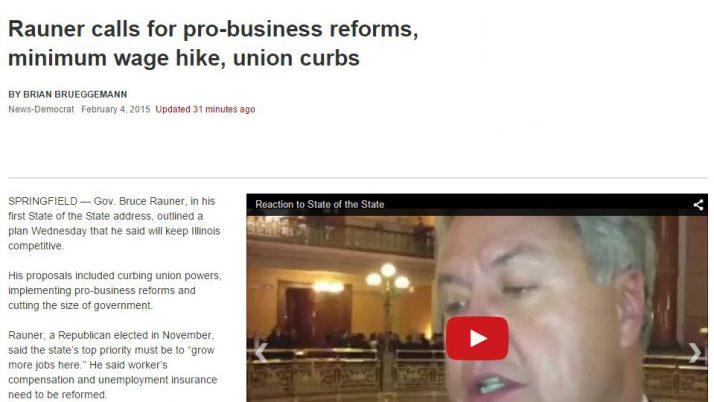 Belleville News-Democrat | Rauner calls for pro-business reforms, minimum wage hike, union curbs