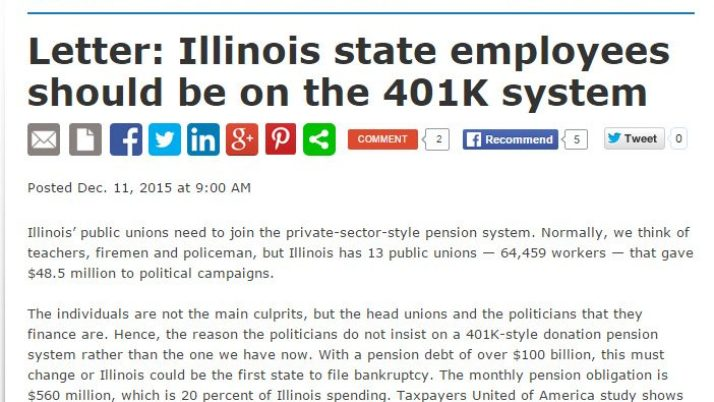 Journal Standard|Letter: Illinois state employees should be on the 401K system
