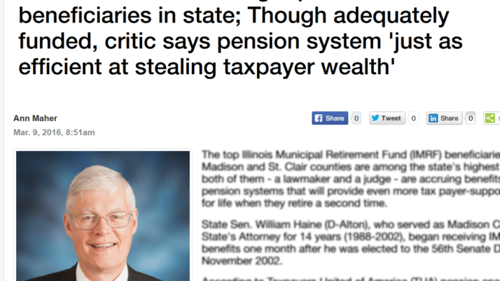Madison Record Haine and Haida among top IMRF beneficiaries in state; Though adequately funded, critic says pension system 'just as efficient at stealing taxpayer wealth'