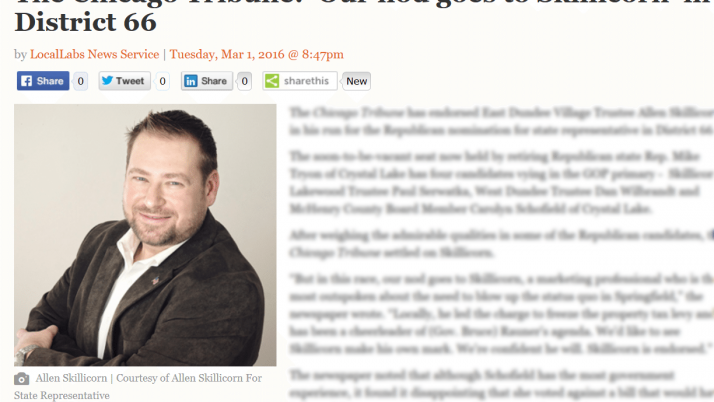 McHenry Times The Chicago Tribune: 'Our nod goes to Skillicorn' in District 66