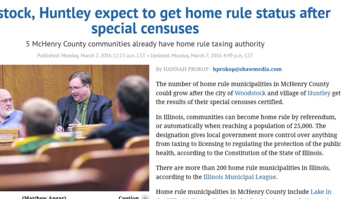 Northwest Herald Woodstock, Huntley expect to get home rule status after special censuses
