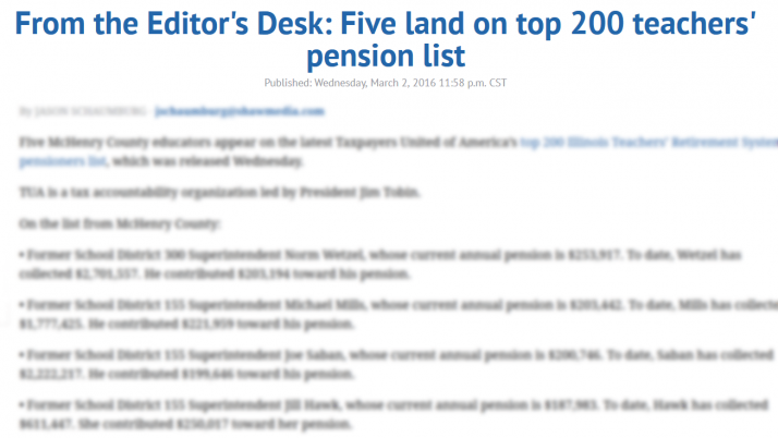 Northwest Herald From the Editor's Desk: Five land on top 200 teachers' pension list